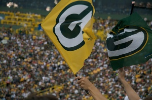 Waving the Packers flag