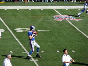 Eli Manning Warming Up